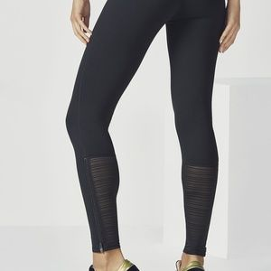 Fabletics | black leggings with grey ankles zip